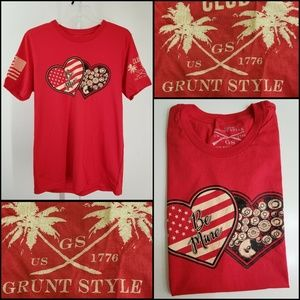 Grunt Style Men Short Sleeve Graphic T Shirt Red